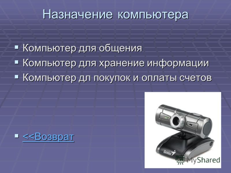 Назначение компьютера Компьютер для общения Компьютер для общения Компьютер для хранение информации Компьютер для хранение информации Компьютер дл покупок и оплаты счетов Компьютер дл покупок и оплаты счетов