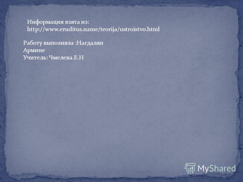 Информация взята из: http://www.eruditus.name/teorija/ustroistvo.html Работу выполняла :Нагдалян Армине Учитель: Чмелева.Е.Н