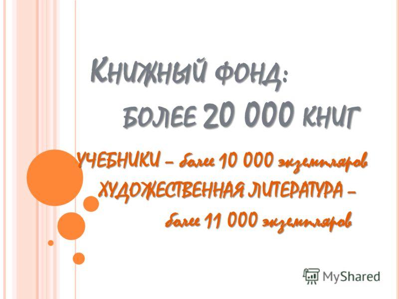 К НИЖНЫЙ ФОНД БОЛЕЕ 20 000 КНИГ К НИЖНЫЙ ФОНД : БОЛЕЕ 20 000 КНИГ УЧЕБНИКИ – более 10 000 экземпляров ХУДОЖЕСТВЕННАЯ ЛИТЕРАТУРА – ХУДОЖЕСТВЕННАЯ ЛИТЕРАТУРА – более 11 000 экземпляров более 11 000 экземпляров