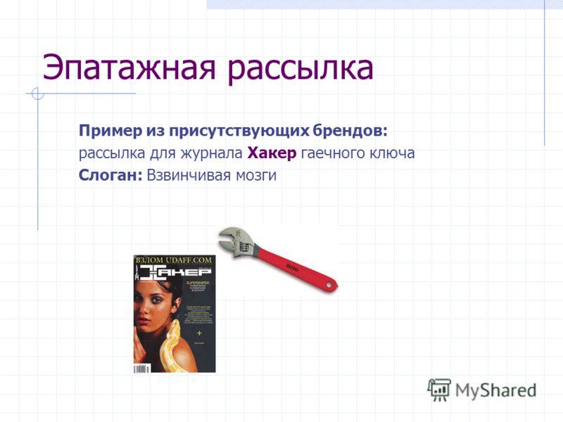 Эпатажная рассылка Пример из присутствующих брендов: рассылка для журнала Хакер гаечного ключа Слоган: Взвинчивая мозги