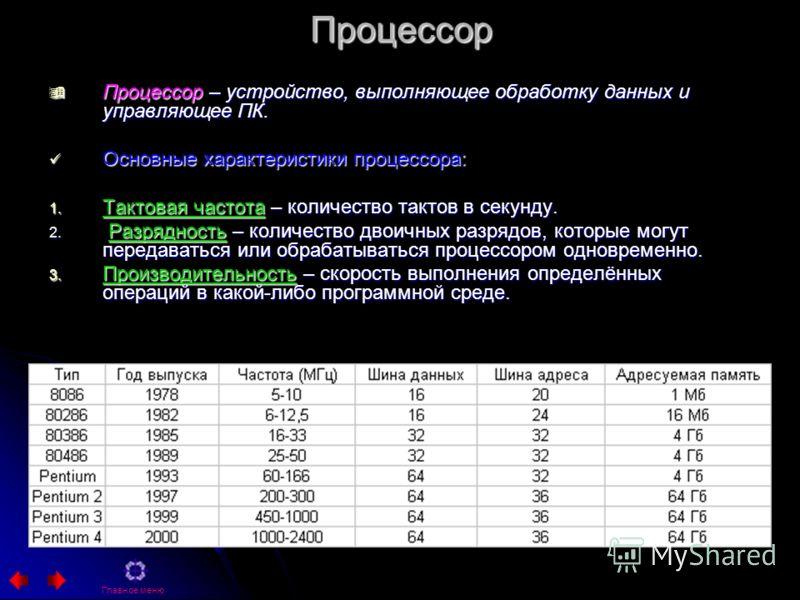 Процессор Процессор – устройство, выполняющее обработку данных и управляющее ПК. Процессор – устройство, выполняющее обработку данных и управляющее ПК. Основные характеристики процессора: Основные характеристики процессора: 1. Тактовая частота – коли