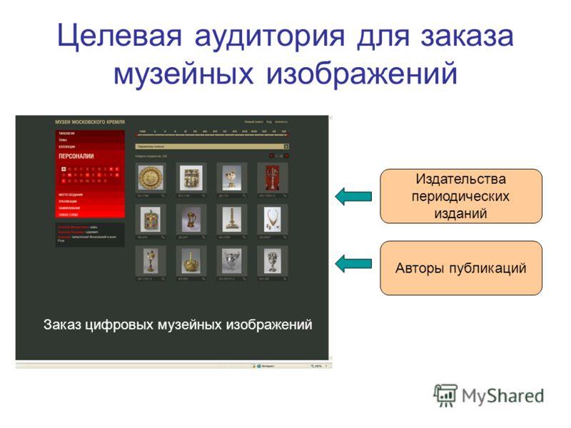 Целевая аудитория для заказа музейных изображений Заказ цифровых музейных изображений Издательства периодических изданий Авторы публикаций