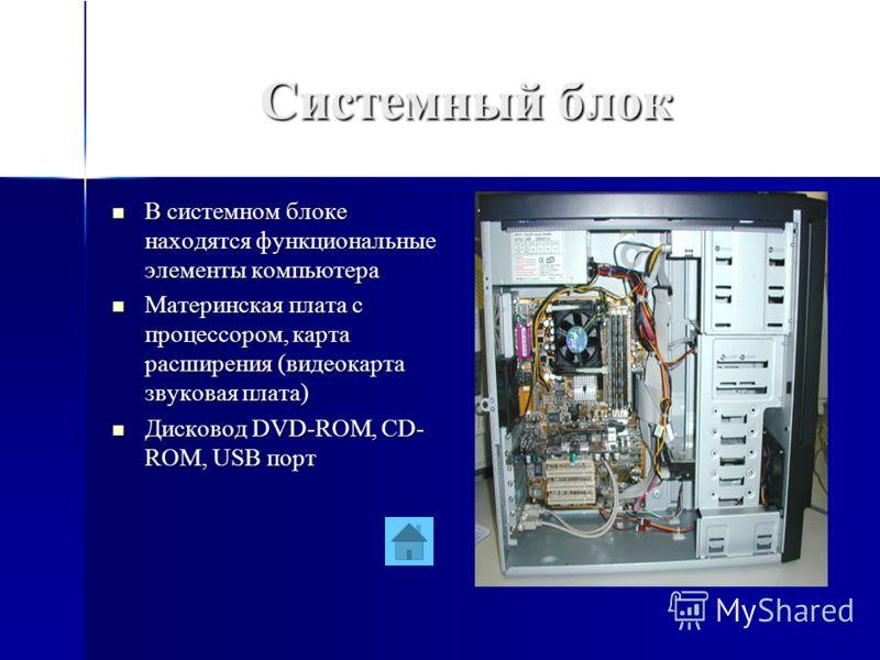 Системный блок В системном блоке находятся функциональные элементы компьютера В системном блоке находятся функциональные элементы компьютера Материнская плата с процессором, карта расширения (видеокарта звуковая плата) Материнская плата с процессором