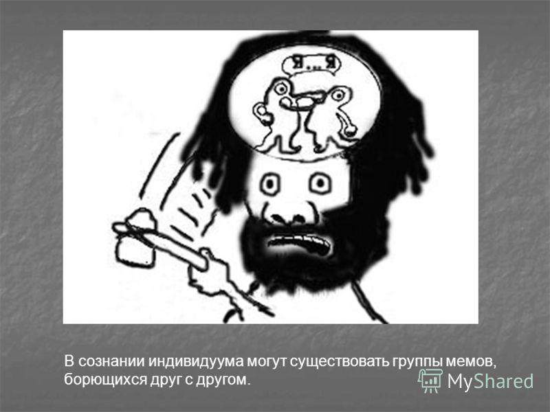 В сознании индивидуума могут существовать группы мемов, борющихся друг с другом.