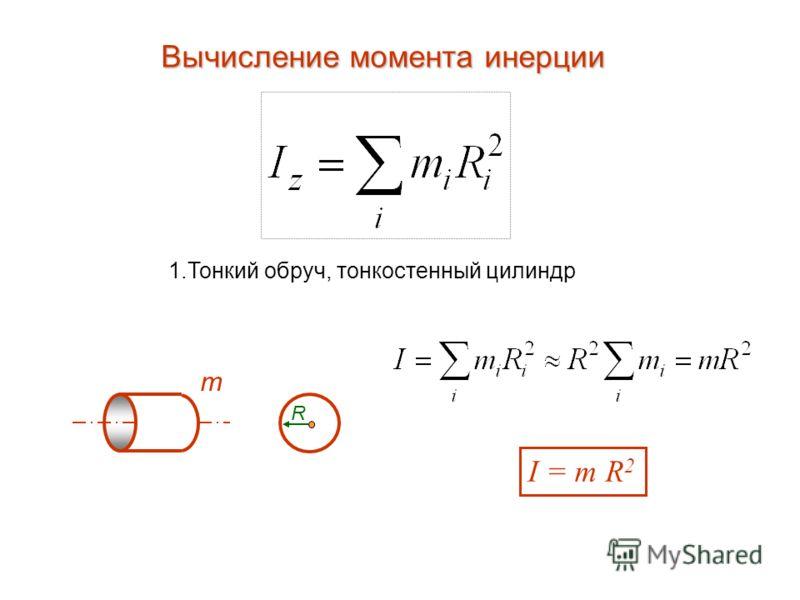 Вычисление момента инерции 1.Тонкий обруч, тонкостенный цилиндр m R I = m R 2