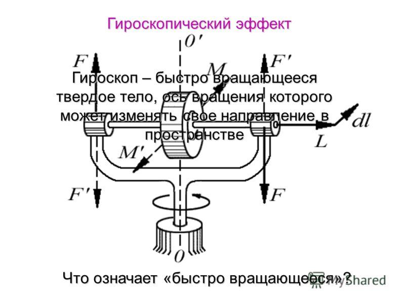 Гироскопический эффект Гироскоп – быстро вращающееся твердое тело, ось вращения которого может изменять свое направление в пространстве Что означает «быстро вращающееся»?