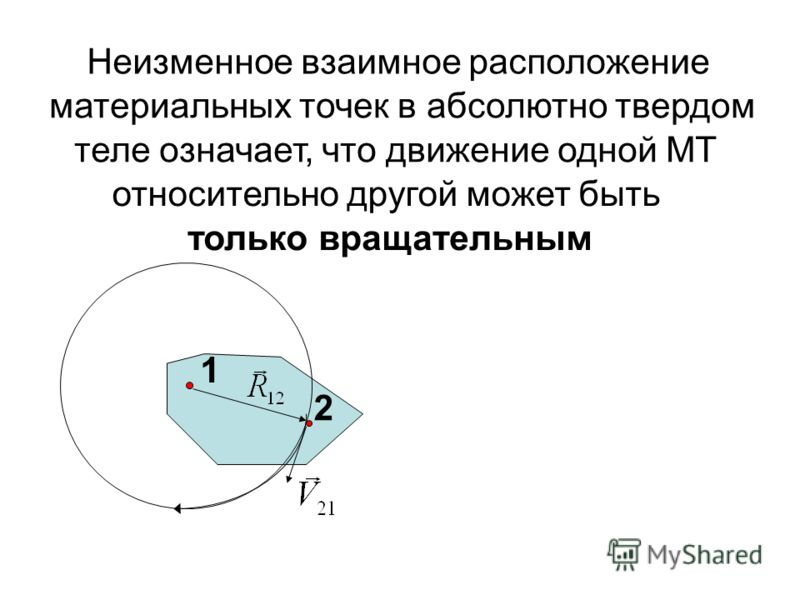 2 Неизменное взаимное расположение материальных точек в абсолютно твердом теле означает, что движение одной МТ относительно другой может быть только вращательным 1