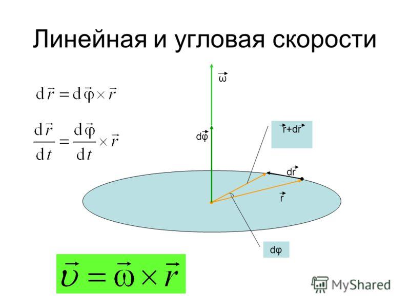 dφdφ r dr r+dr dφdφ ω Линейная и угловая скорости