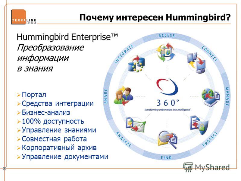 Портал Средства интеграции Бизнес-анализ 100% доступность Управление знаниями Совместная работа Корпоративный архив Управление документами Почему интересен Hummingbird? Hummingbird Enterprise Преобразование информации в знания