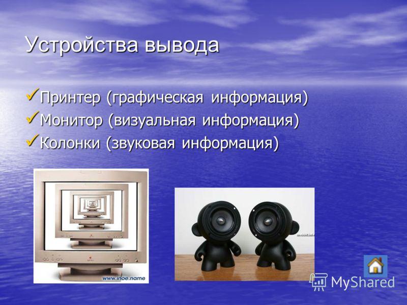 Устройства вывода Принтер (графическая информация) Принтер (графическая информация) Монитор (визуальная информация) Монитор (визуальная информация) Колонки (звуковая информация) Колонки (звуковая информация)