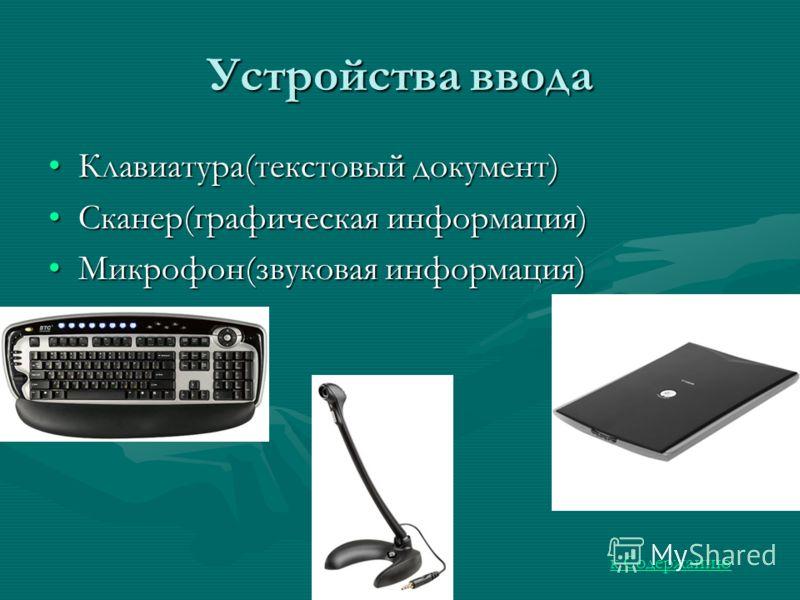 Устройства ввода Клавиатура(текстовый документ)Клавиатура(текстовый документ) Сканер(графическая информация)Сканер(графическая информация) Микрофон(звуковая информация)Микрофон(звуковая информация) к Содержанию