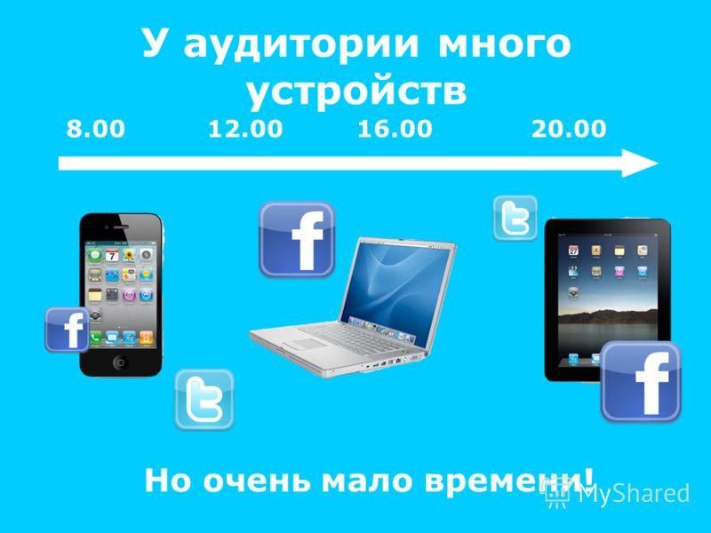У аудитории много устройств 8.00 12.00 16.00 20.00 Но очень мало времени!
