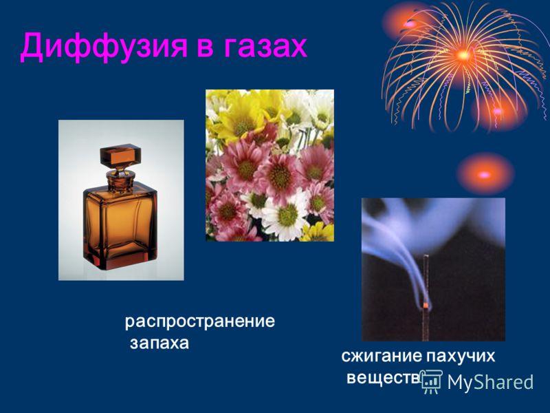 Диффузия в газах распространение запаха сжигание пахучих веществ