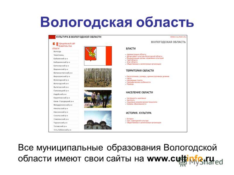Вологодская область Все муниципальные образования Вологодской области имеют свои сайты на www.cultinfo.ru