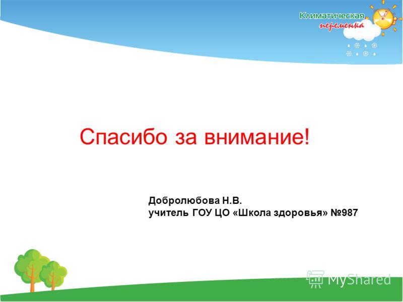 Спасибо за внимание! Добролюбова Н.В. учитель ГОУ ЦО «Школа здоровья» 987