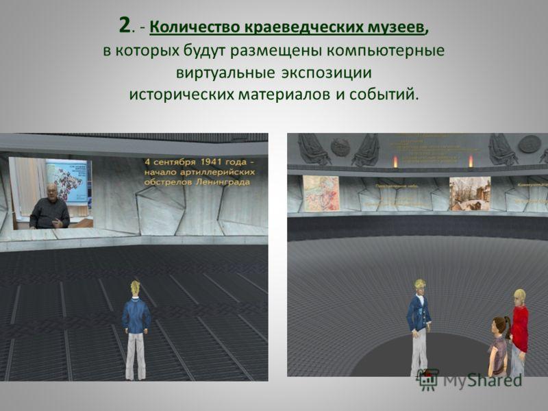 2. - Количество краеведческих музеев, в которых будут размещены компьютерные виртуальные экспозиции исторических материалов и событий.