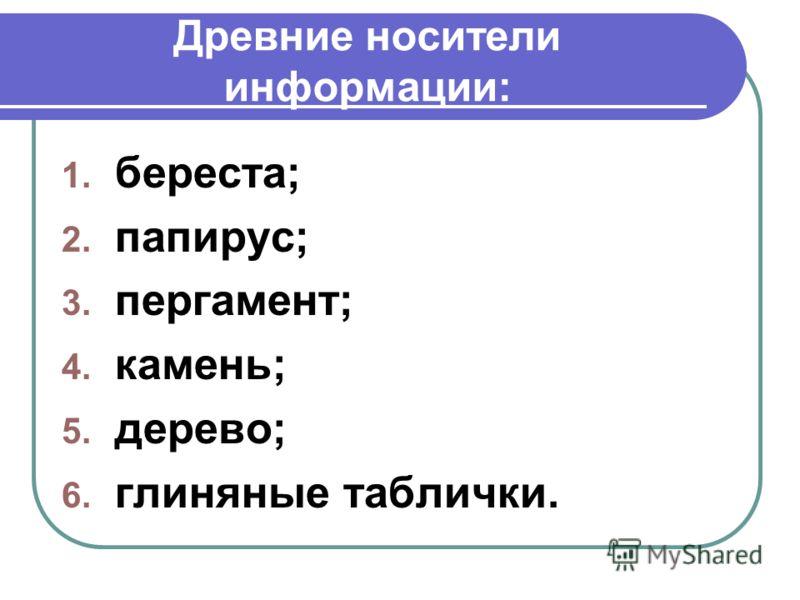 Древние носители информации: 1. береста; 2. папирус; 3. пергамент; 4. камень; 5. дерево; 6. глиняные таблички.