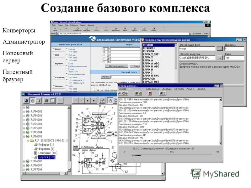 Создание базового комплекса Конверторы Администратор Поисковый сервер Патентный браузер