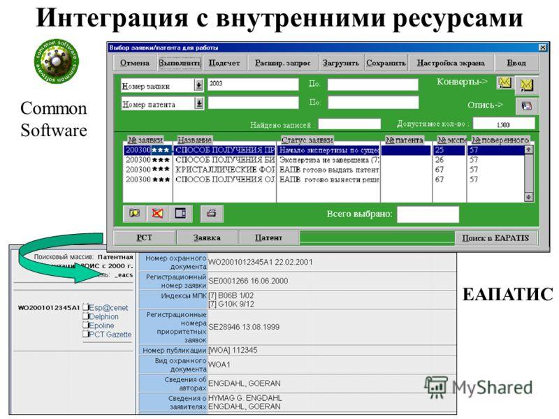 Интеграция с внутренними ресурсами Common Software ЕАПАТИС