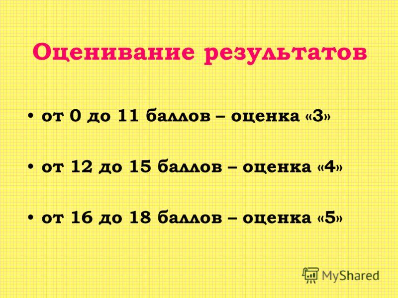 Оценивание результатов от 0 до 11 баллов – оценка «3» от 12 до 15 баллов – оценка «4» от 16 до 18 баллов – оценка «5»