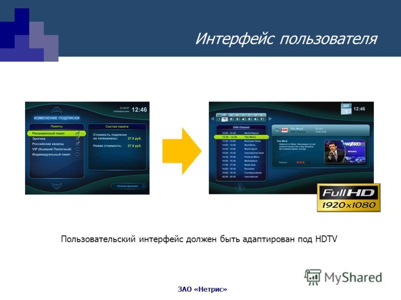 ЗАО «Нетрис» Интерфейс пользователя Пользовательский интерфейс должен быть адаптирован под HDTV