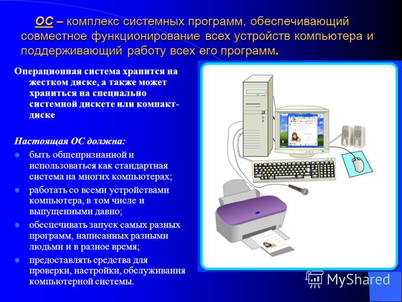 ОС – комплекс системных программ, обеспечивающий совместное функционирование всех устройств компьютера и поддерживающий работу всех его программ. ОС – комплекс системных программ, обеспечивающий совместное функционирование всех устройств компьютера и