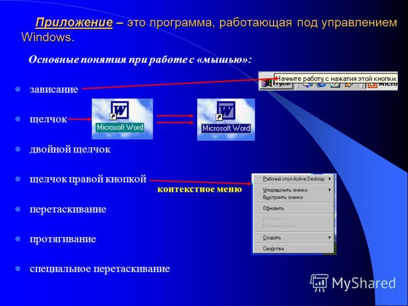Приложение – это программа, работающая под управлением Windows. Приложение – это программа, работающая под управлением Windows. Основные понятия при работе с «мышью»: зависание щелчок двойной щелчок щелчок правой кнопкой перетаскивание протягивание с
