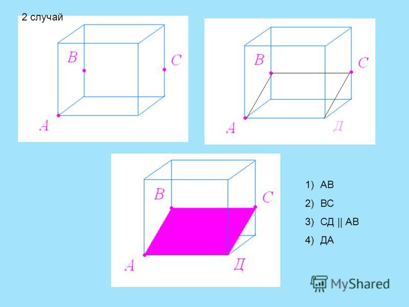 Д 1)АВ 2)ВС 3)СД || АВ 4)ДА 2 случай