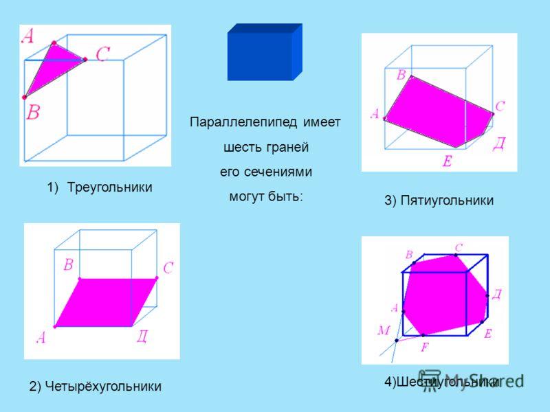 Параллелепипед имеет шесть граней его сечениями могут быть: 1)Треугольники 2) Четырёхугольники 3) Пятиугольники 4)Шестиугольники