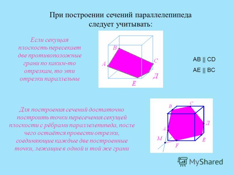 При построении сечений параллелепипеда следует учитывать: Для построения сечений достаточно построить точки пересечения секущей плоскости с рёбрами параллелепипеда, после чего остаётся провести отрезки, соединяющие каждые две построенные точки, лежащ