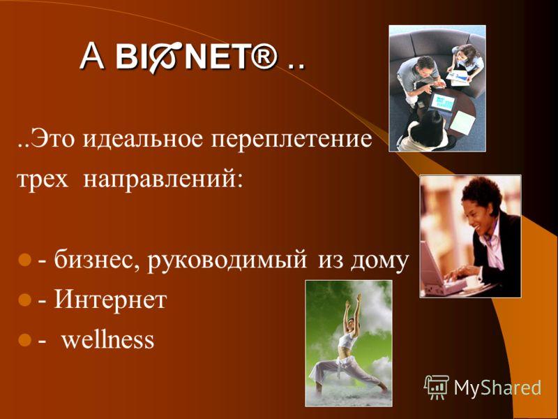 A BI NET®....Это идеальное переплетение трех направлений: - бизнес, руководимый из дому - Интернет - wellness