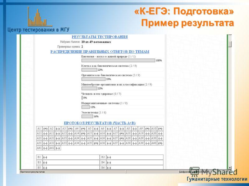 «К-ЕГЭ: Подготовка» Пример результата