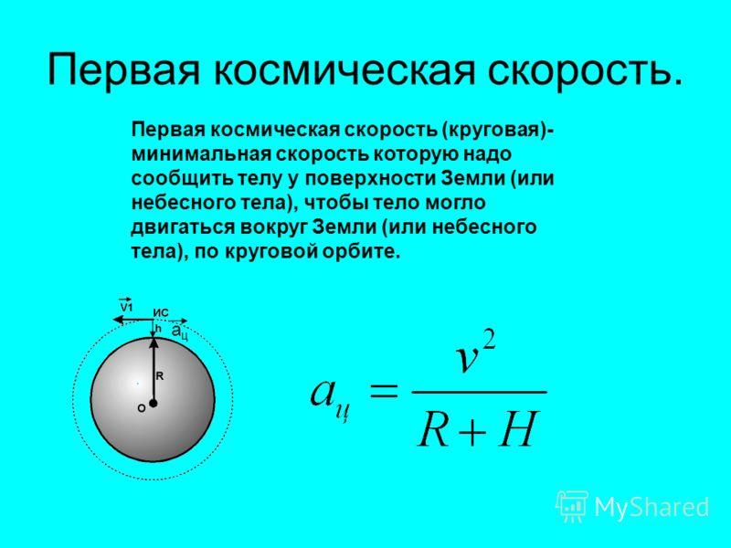 Первая космическая скорость. Первая космическая скорость (круговая)- минимальная скорость которую надо сообщить телу у поверхности Земли (или небесного тела), чтобы тело могло двигаться вокруг Земли (или небесного тела), по круговой орбите. ацац