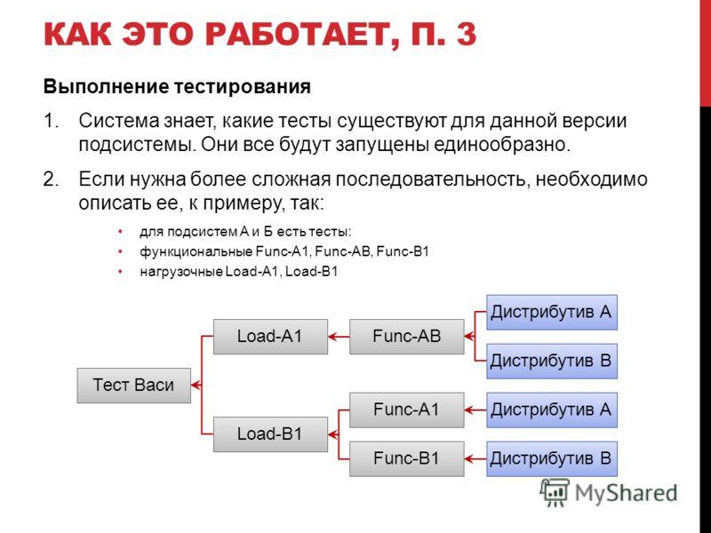 КАК ЭТО РАБОТАЕТ, П. 3 Выполнение тестирования 1.Система знает, какие тесты существуют для данной версии подсистемы. Они все будут запущены единообразно. 2.Если нужна более сложная последовательность, необходимо описать ее, к примеру, так: для подсис