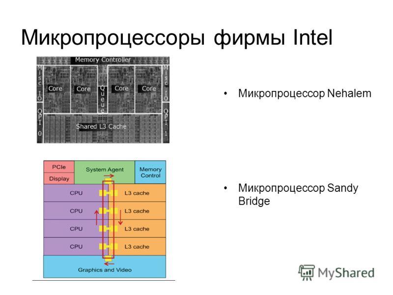 Микропроцессоры фирмы Intel Микропроцессор Nehalem Микропроцессор Sandy Bridge