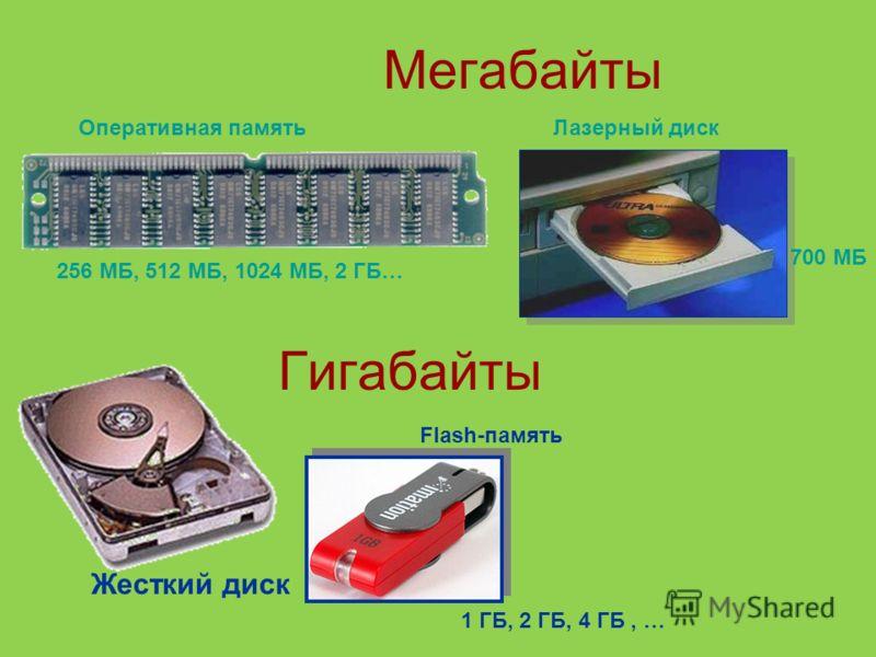 Мегабайты 256 МБ, 512 МБ, 1024 МБ, 2 ГБ… 700 МБ Оперативная памятьЛазерный диск Гигабайты Жесткий диск Flash-память 1 ГБ, 2 ГБ, 4 ГБ, …