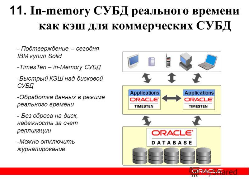 11. In-memory СУБД реального времени как кэш для коммерческих СУБД Applications - Подтверждение – сегодня IBM купил Solid -TimesTen – in-Memory СУБД -Быстрый КЭШ над дисковой СУБД -Обработка данных в режиме реального времени - Без сброса на диск, над