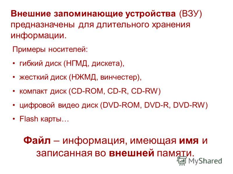 Внешние запоминающие устройства (ВЗУ) предназначены для длительного хранения информации. Примеры носителей: гибкий диск (НГМД, дискета), жесткий диск (НЖМД, винчестер), компакт диск (CD-ROM, CD-R, CD-RW) цифровой видео диск (DVD-ROM, DVD-R, DVD-RW) F
