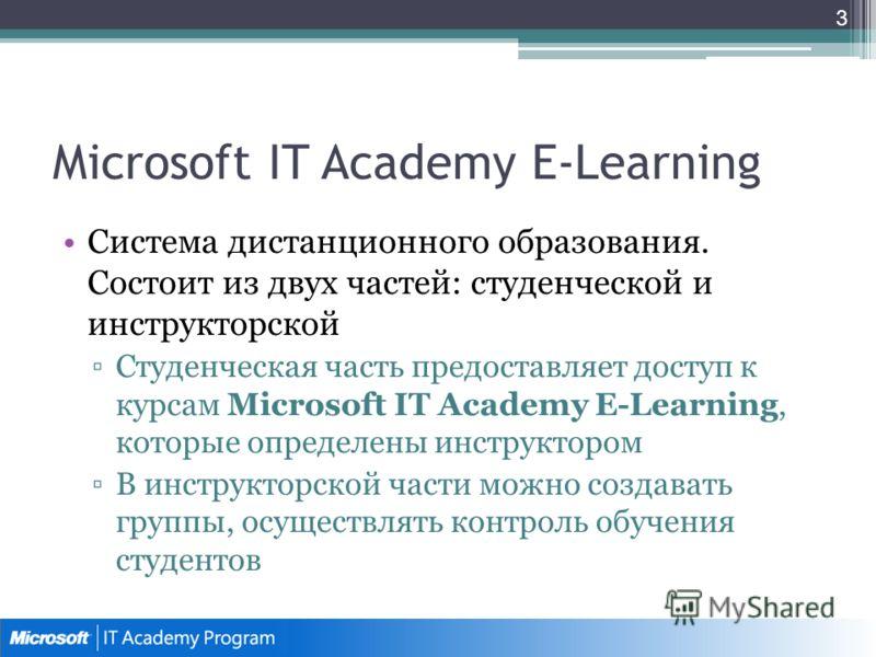 Microsoft IT Academy E-Learning Система дистанционного образования. Состоит из двух частей: студенческой и инструкторской Студенческая часть предоставляет доступ к курсам Microsoft IT Academy E-Learning, которые определены инструктором В инструкторск