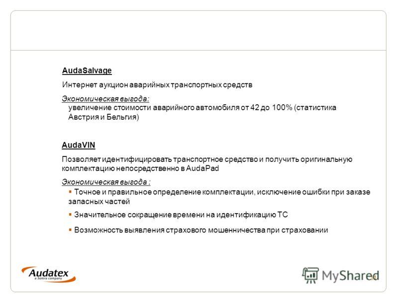 11 AudaSalvage Интернет аукцион аварийных транспортных средств AudaVIN Позволяет идентифицировать транспортное средство и получить оригинальную комплектацию непосредственно в AudaPad Экономическая выгода: увеличение стоимости аварийного автомобиля от