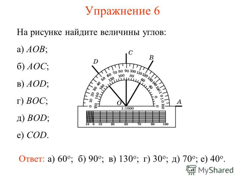 Упражнение 6 На рисунке найдите величины углов: а) AOB; б) AOC; в) AOD; г) BOC; д) BOD; е) COD. Ответ: а) 60 о ;б) 90 о ;в) 130 о ;г) 30 о ;д) 70 о ;е) 40 о.