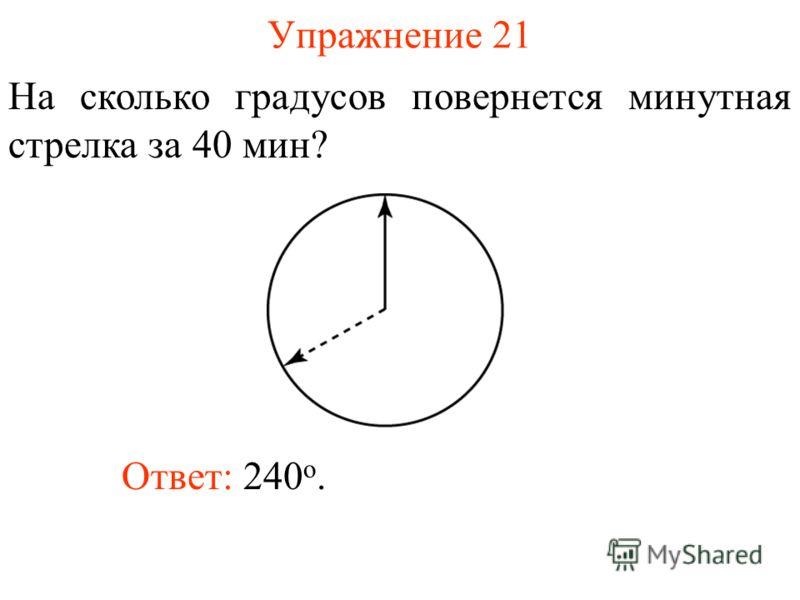 Упражнение 21 На сколько градусов повернется минутная стрелка за 40 мин? Ответ: 240 о.