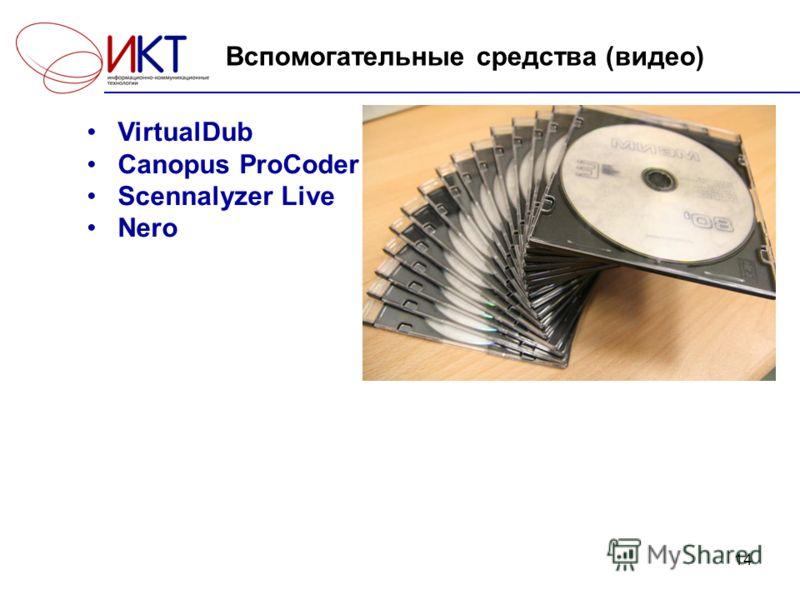 14 Вспомогательные средства (видео) VirtualDub Canopus ProCoder Scennalyzer Live Nero