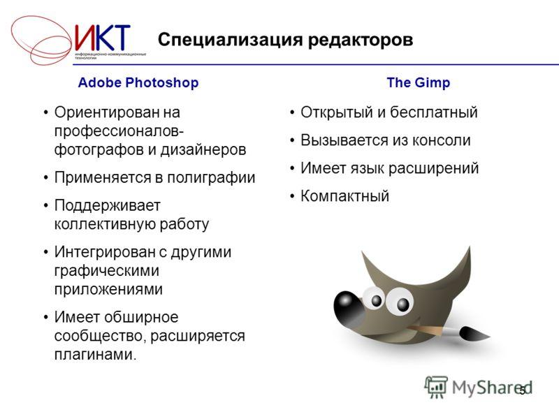 5 Специализация редакторов Adobe Photoshop Ориентирован на профессионалов- фотографов и дизайнеров Применяется в полиграфии Поддерживает коллективную работу Интегрирован с другими графическими приложениями Имеет обширное сообщество, расширяется плаги