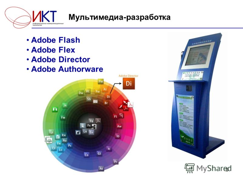 9 Мультимедиа-разработка Adobe Flash Adobe Flex Adobe Director Adobe Authorware