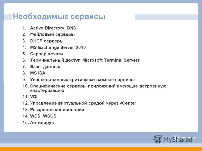 Необходимые сервисы 1.Active Directory, DNS 2.Файловый серверы 3.DHCP серверы 4.MS Exchange Server 2010 5.Сервер печати 6.Терминальный доступ Microsoft Terminal Servers 7.Базы данных 8.MS ISA 9.Унаследованные критически важные сервисы 10.Специфически