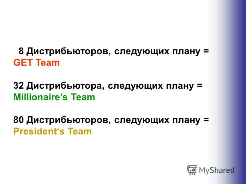 08 Дистрибьюторов, следующих плану = GET Team 32 Дистрибьютора, следующих плану = Millionaires Team 80 Дистрибьюторов, следующих плану = Presidents Team
