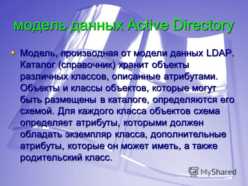 модель данных Active Directory Модель, производная от модели данных LDAP. Каталог (справочник) хранит объекты различных классов, описанные атрибутами. Объекты и классы объектов, которые могут быть размещены в каталоге, определяются его схемой. Для ка