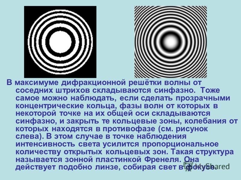 В максимуме дифракционной решётки волны от соседних штрихов складываются синфазно. Тоже самое можно наблюдать, если сделать прозрачными концентрические кольца, фазы волн от которых в некоторой точке на их общей оси складываются синфазно, и закрыть те