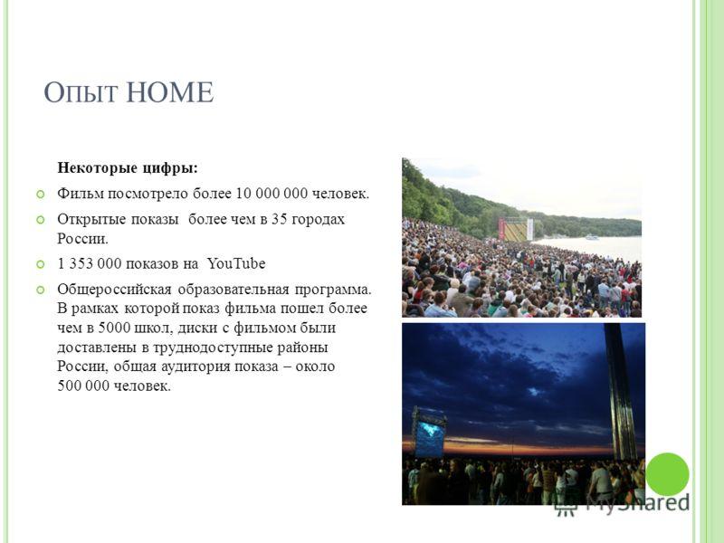 Некоторые цифры: Фильм посмотрело более 10 000 000 человек. Открытые показы более чем в 35 городах России. 1 353 000 показов на YouTube Общероссийская образовательная программа. В рамках которой показ фильма пошел более чем в 5000 школ, диски с фильм